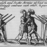 Scots and English armies embrace